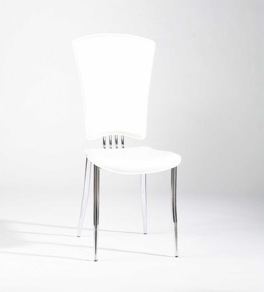 White Or Black Leather Dining Chairs With Chrome Legs And High Back