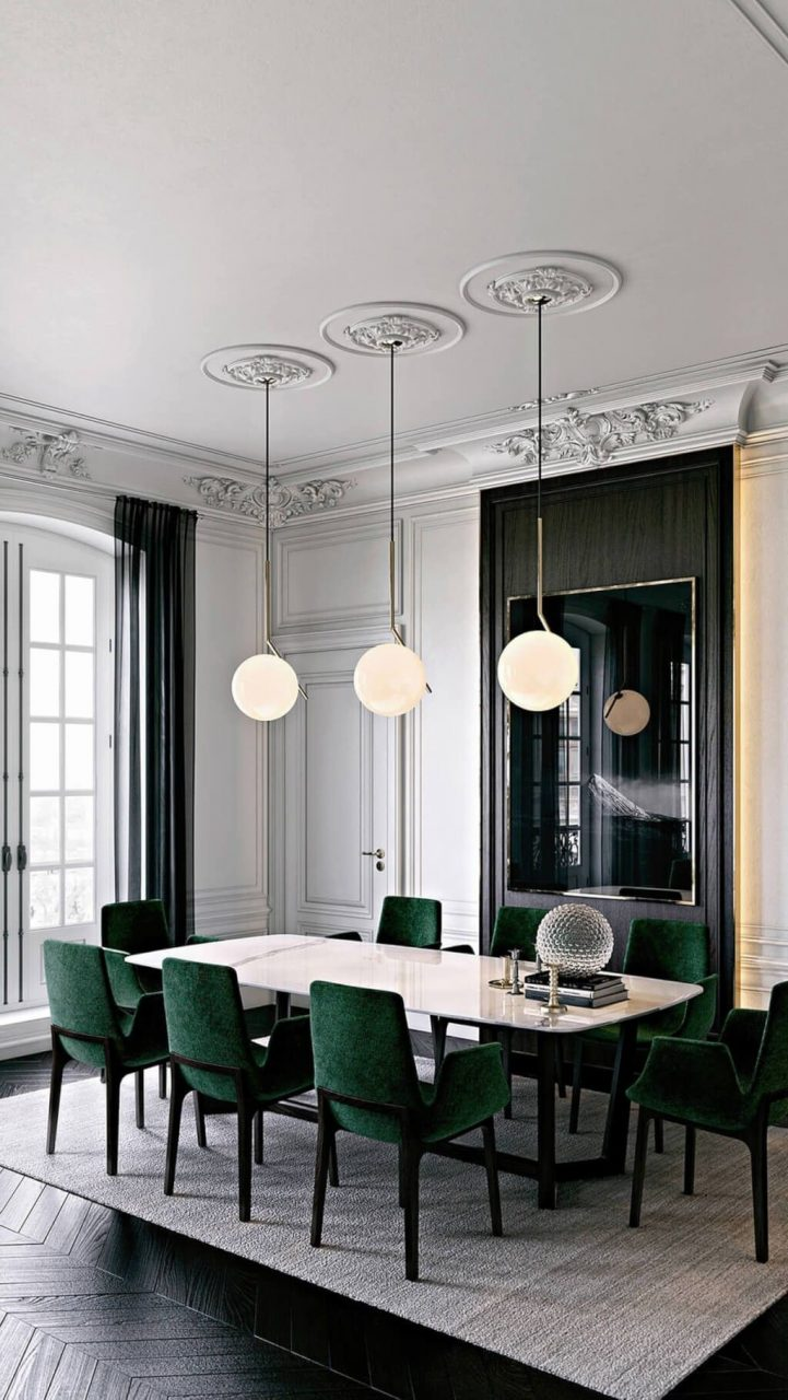 White Wall Emerald Green Accents Decor Pinterest Dining Room