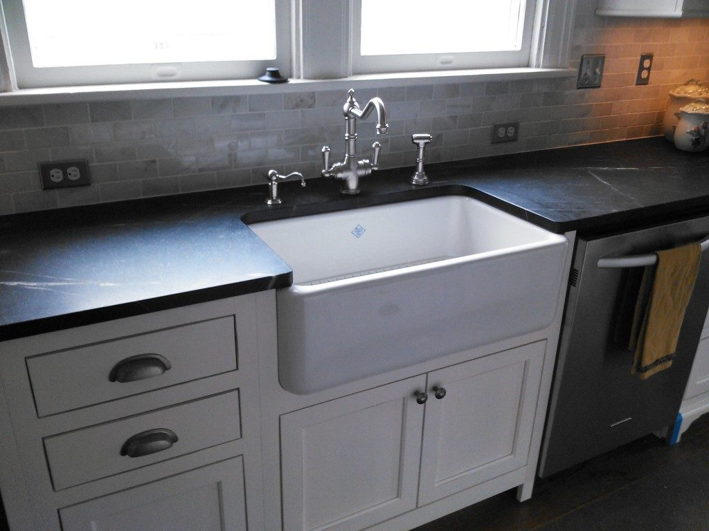 White Wood Kitchen Counter And Black Slate Kitchen Counter Tops