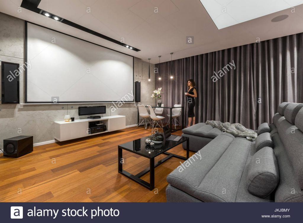 Woman In Living Room With Projector Screen Gray Sofa And Black