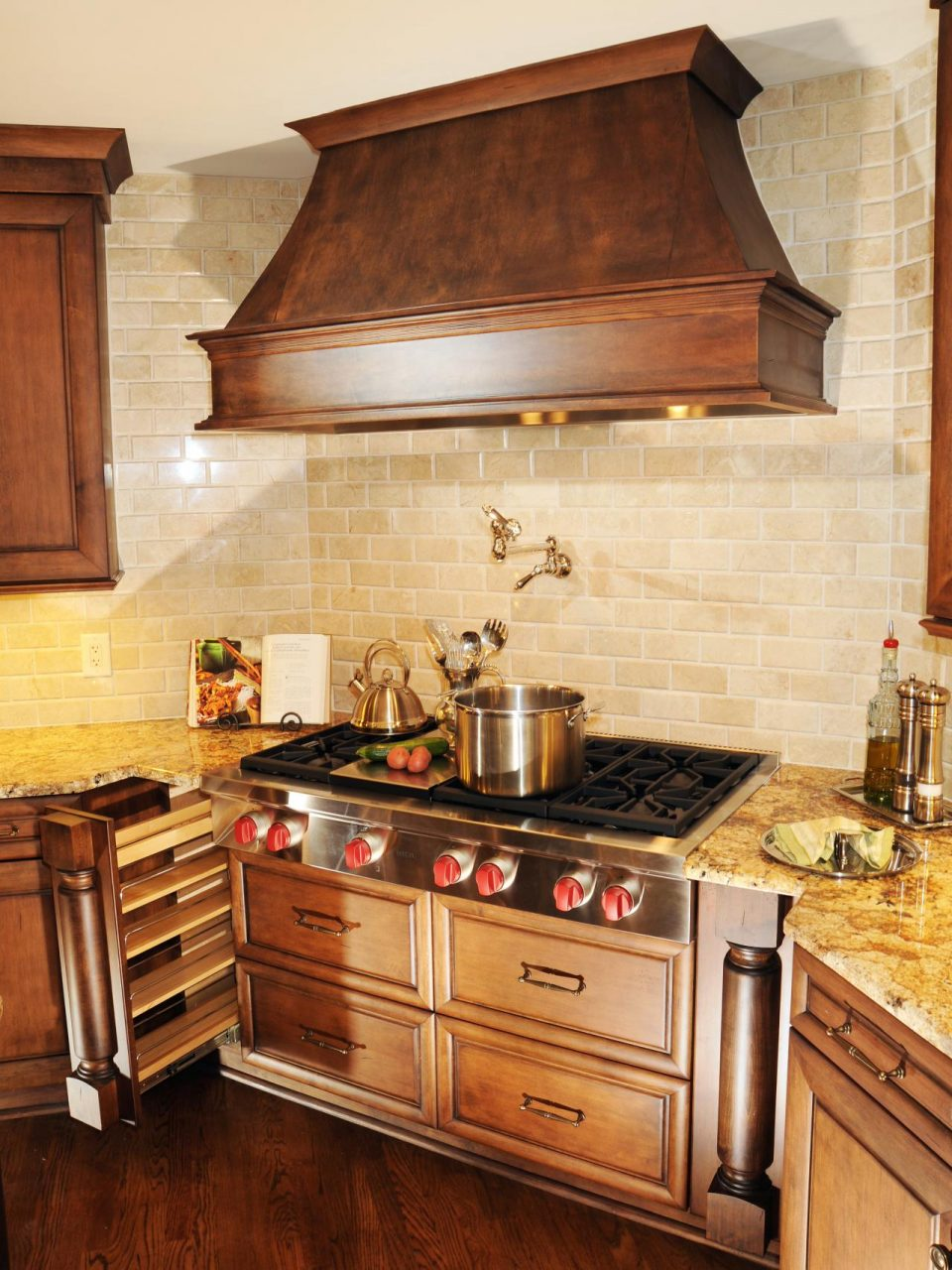 Wonderful Pot Filler Faucet With Copper Range Hood And Cooktop Also