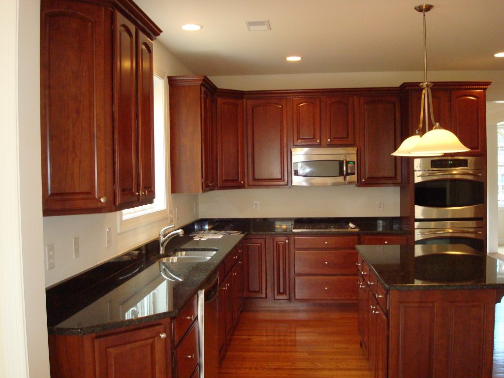 Wood Countertop Design With Wooden Floors And Kitchen Cabinet