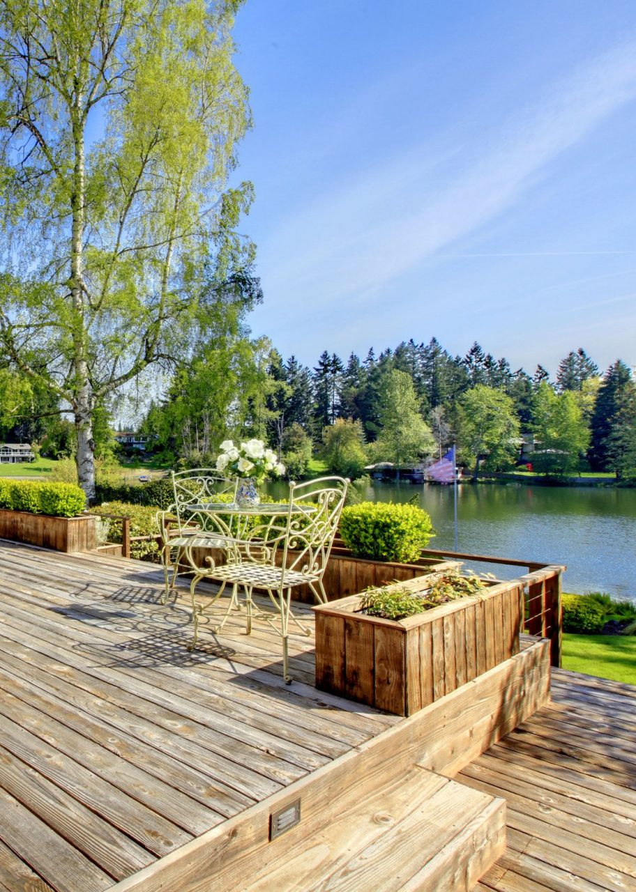 Wood Deck With A Beautiful River View Simple Pressure Treated Wood