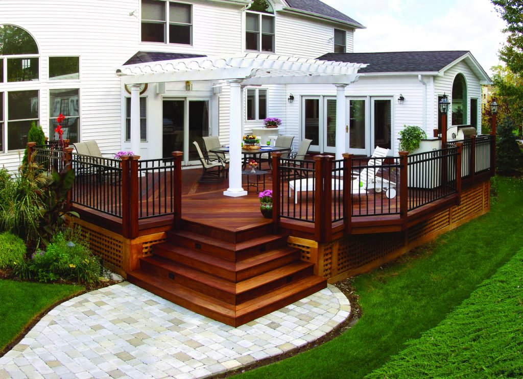Wood Deck With Pergola And Paver Walkway Archadeck Outdoor Living