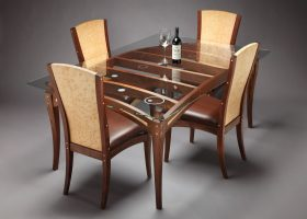 Wood Glass Top Dining Room Table