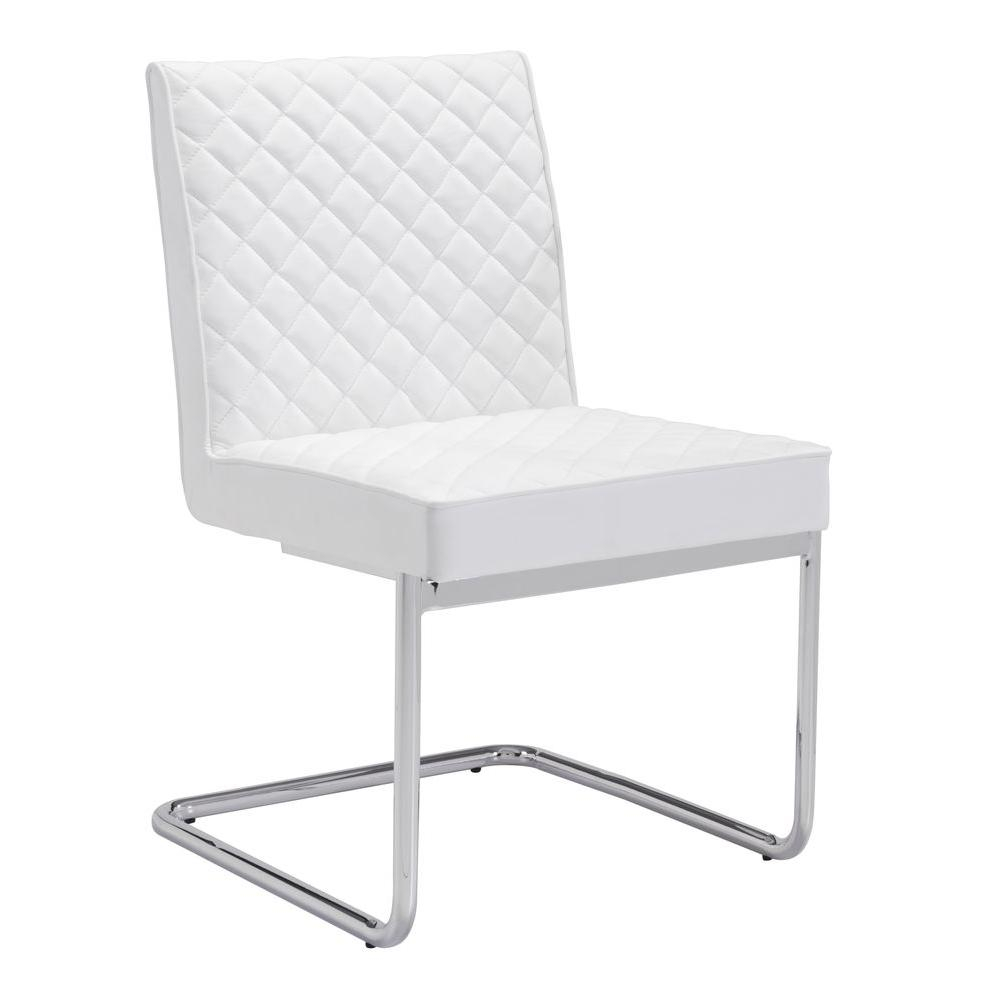 Zuo Quilt White Leatherette Dining Chair 100188 The Home Depot