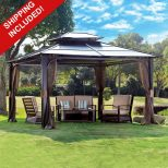 10 X 12 Hardtop Metal Steel Roof Outdoor Patio Gazebo W Aluminum