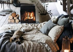 Warm Cozy Bedroom with Fireplace
