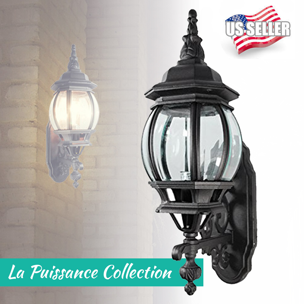 19 X 10 Matte Black Exterior Outdoor Wall Lantern Light Fixture