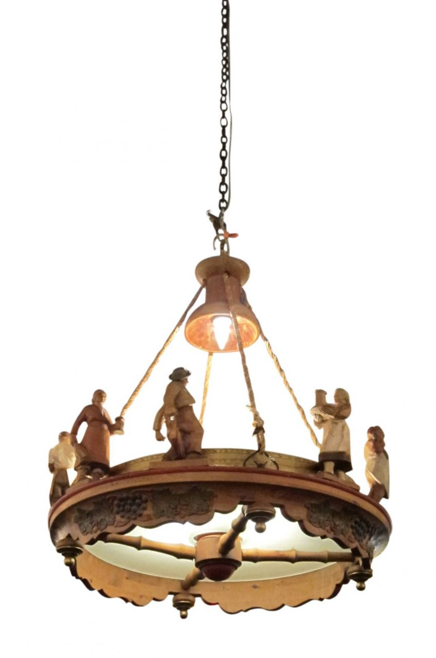 1920s Dutch Hand Carved Wooden Chandelier With Figures And Grapes