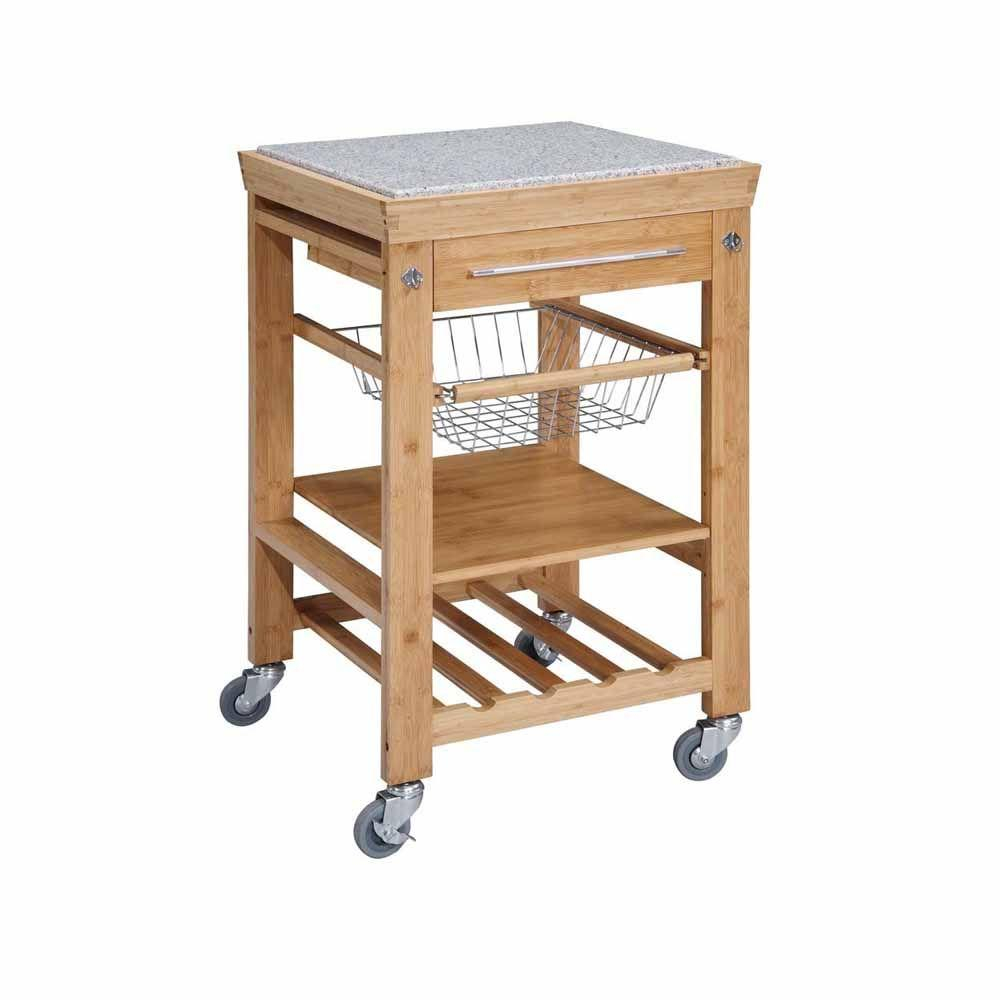 22 Sq In Bamboo Kitchen Island Cart 44031bmb01kdu The Home Depot