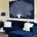 Blue Velvet Living Room with Couch