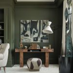 Olive Green Walls with Gray Furniture