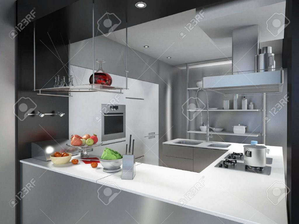 3d Rendering Of A Modern Industrial Kitchen Island Stock Photo
