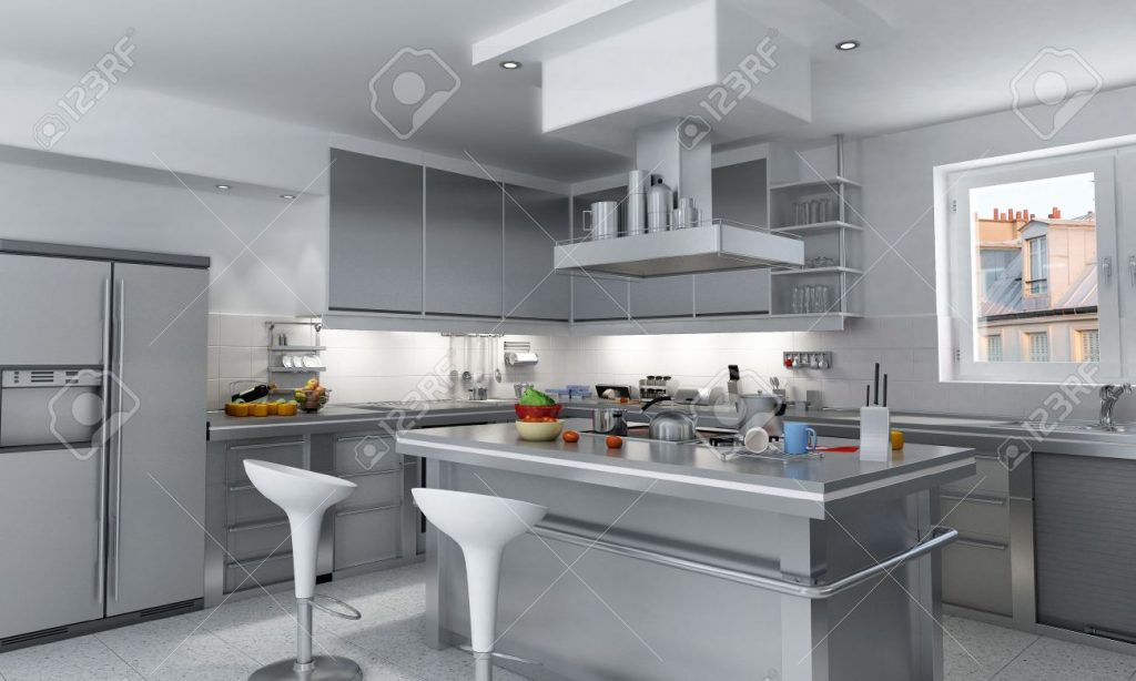 3d Rendering Of A Modern Industrial Kitchen With Island Stock Photo