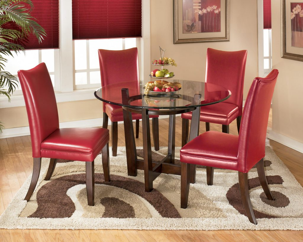 5 Piece Round Dining Table Set With Red Chairs Signature Design