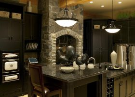 Kitchen Cabinets with Dark Wood Ceilings