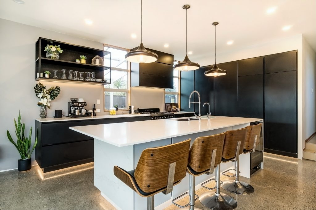 A Black And White Modern Kitchen Kmd Kitchens Auckland