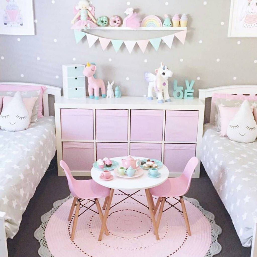 Adorable Girls Bedroom Ideas Pink And Gray And Neutrals With