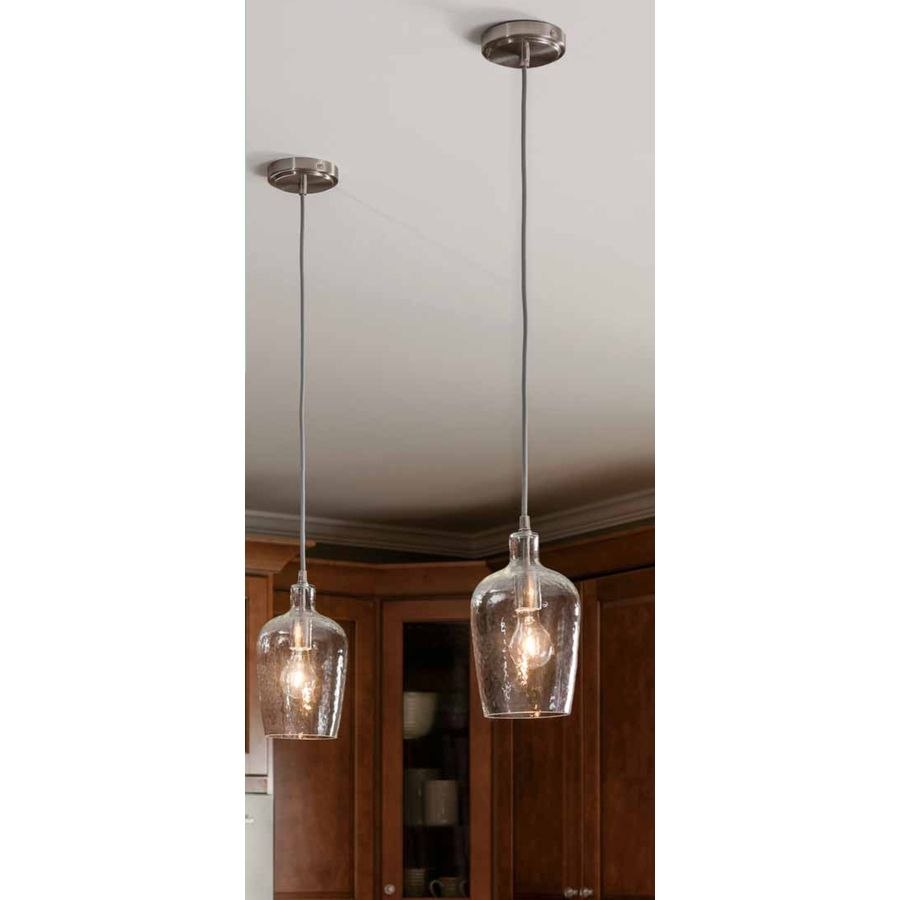 Allen Roth 6 In W Brushed Nickel Mini Pendant Light With Clear