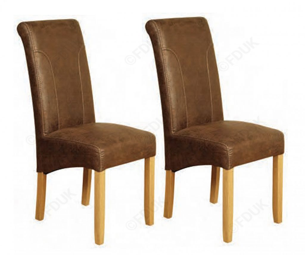 Annaghmore Charlotte Vintage Brown Leather Dining Chair In Pair