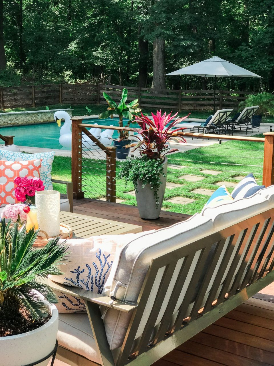 Backyard Deck Decorating Ideas Stainless Steel Deck Cable Railing