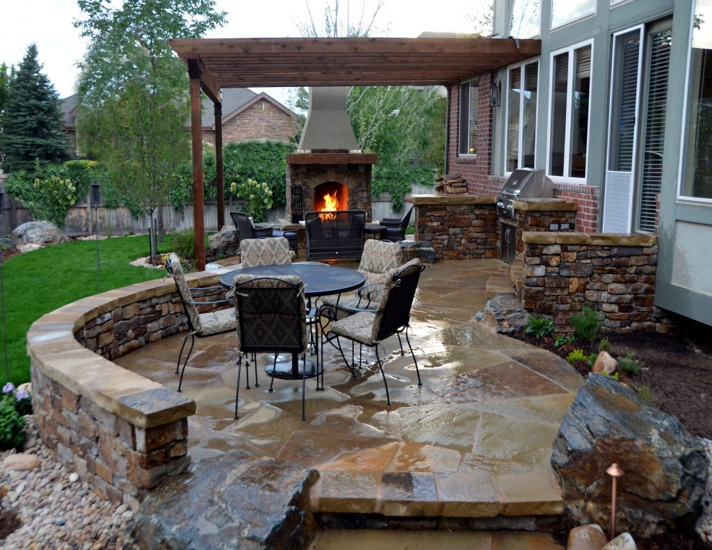 Backyardpatios Flagstone Patio With Stone Fireplace And Outdoor