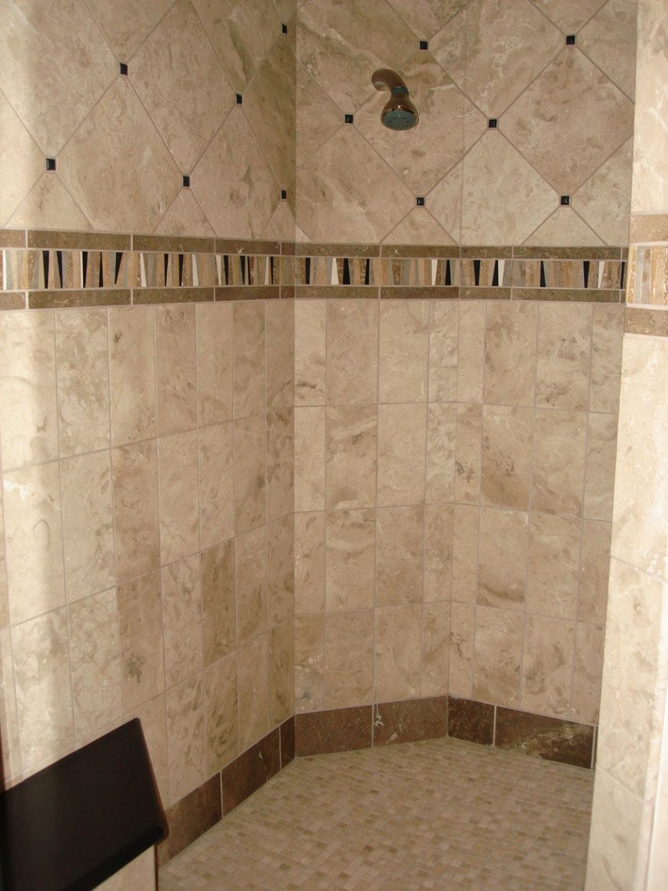 Bathroom Cream Color Feat Brown Line Combine Travertine Bathroom