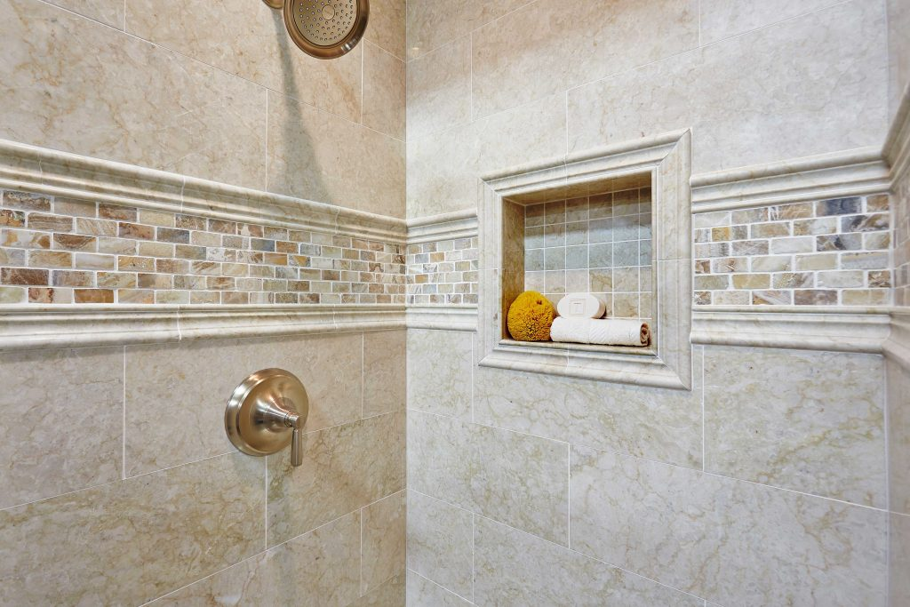 Bathroom Shower Accent Tile Teraporto Listello Travertine Mosaic