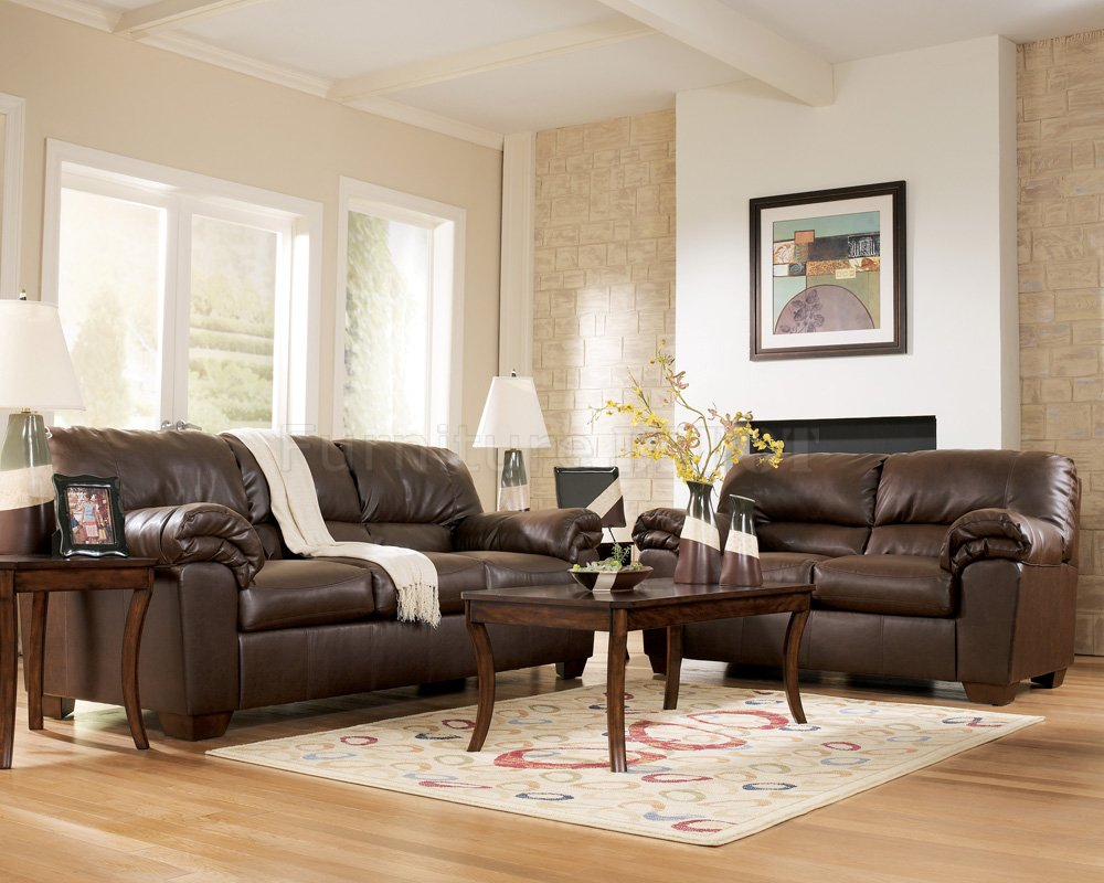Brown Leather Living Room Furniture Layjao