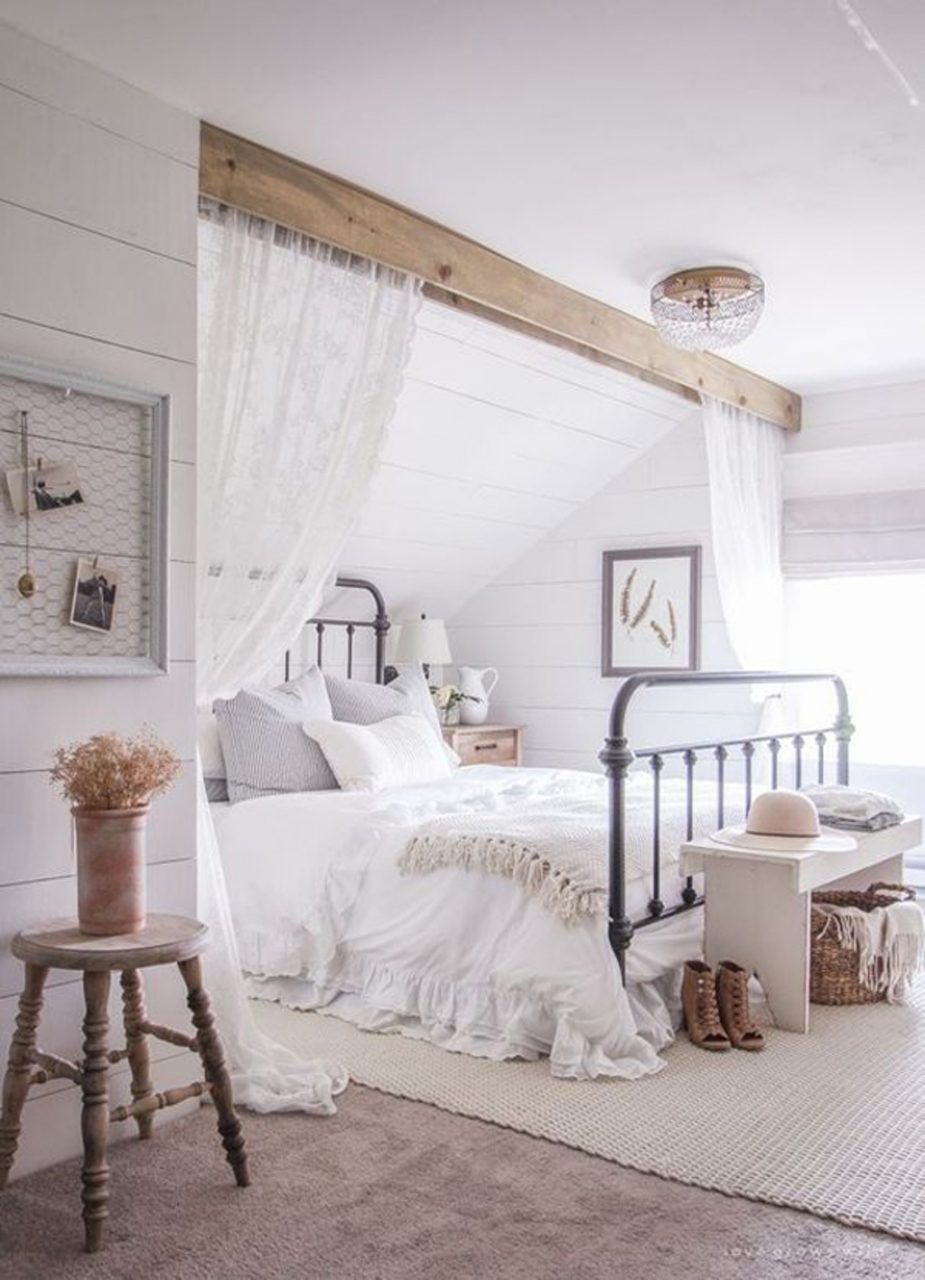Bedroom Farmhouse Master Bedroom With Curtains 25 Cozy And