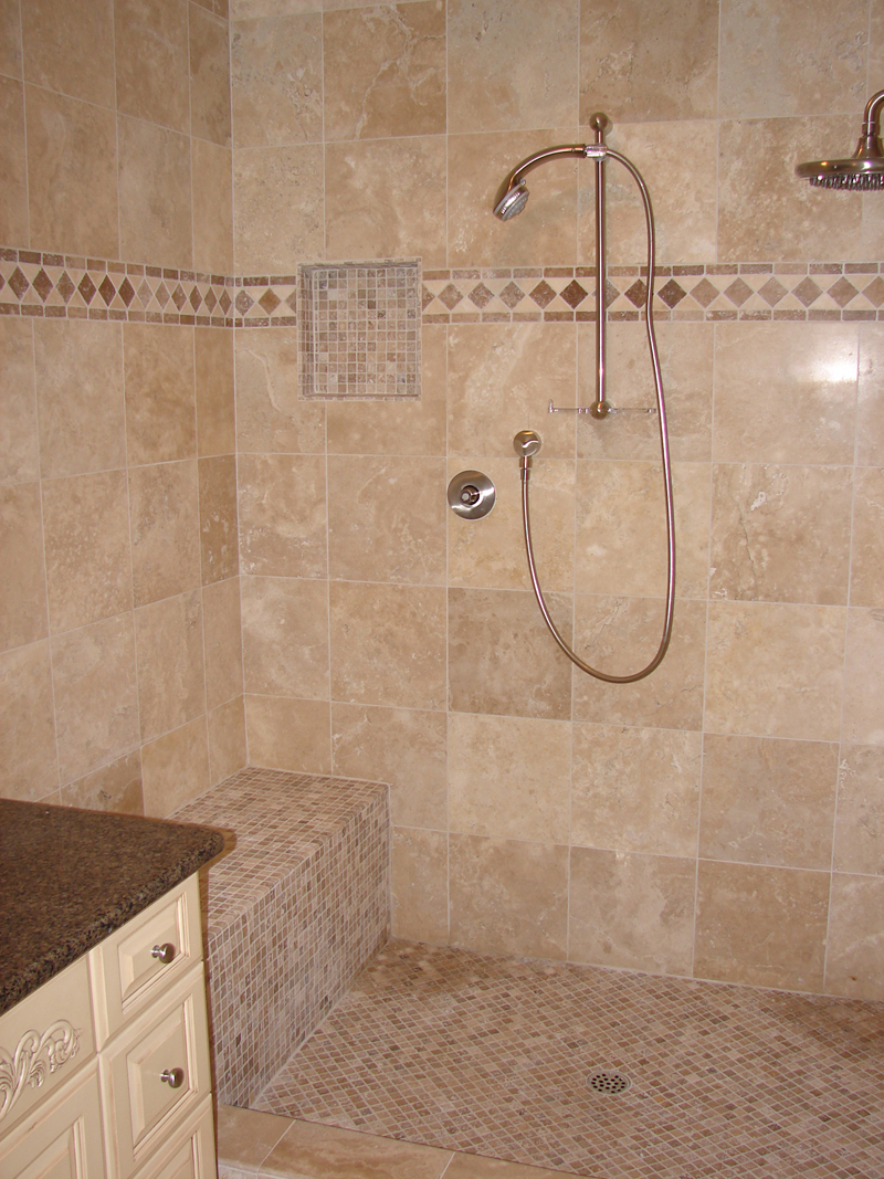Beige Travertine Bathroom Showers Tiles With Brown Mosaic Ceramic