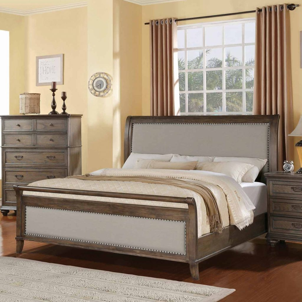 Belmeade Wood Sleigh Upholstered Bed In Old World Oak Humble Abode