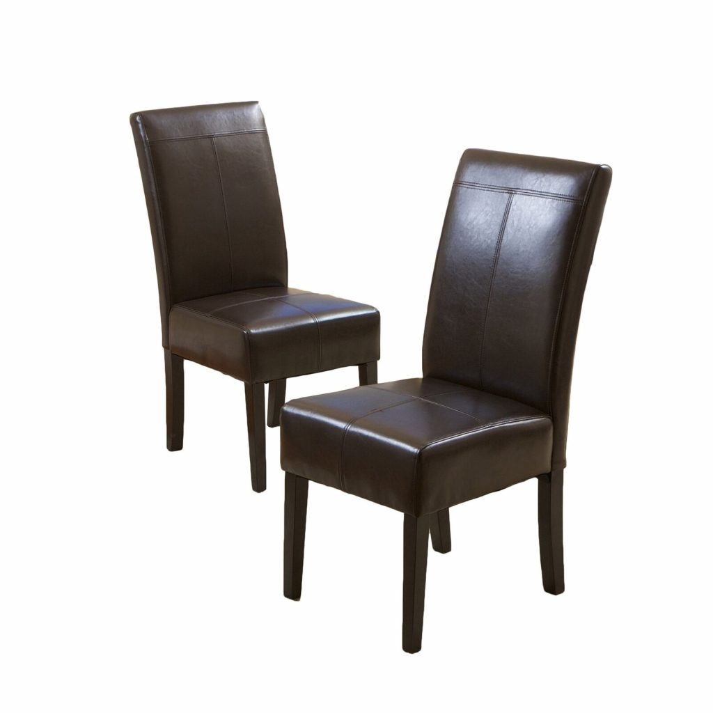 Best Chocolate Brown T Stitch Leather Dining Chair 2 Pack 2day Ship