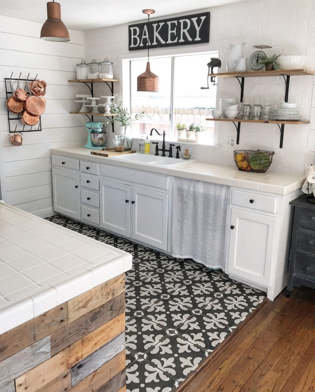 Black And White Tile Copper Pans Cottage Kitchen Beach Cottage