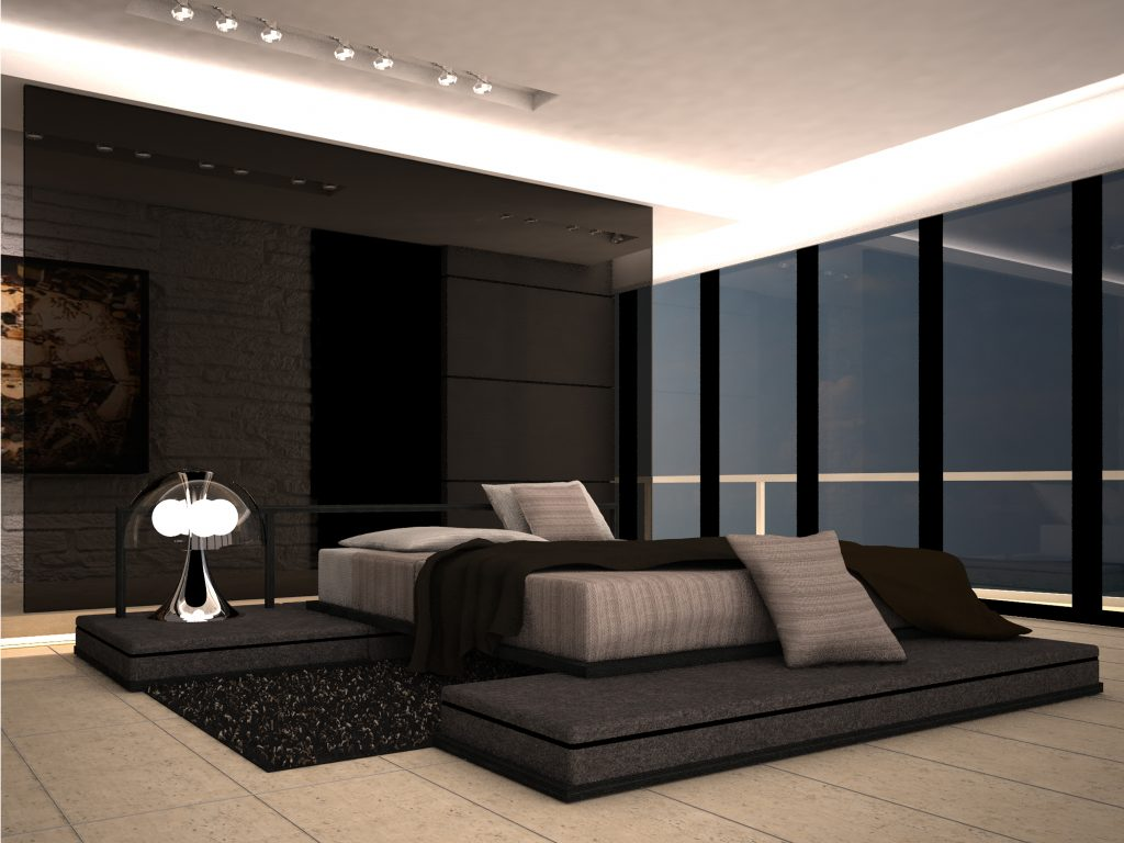 Black Gloss Wall Panel With Large Platform Size Bedding And Modern