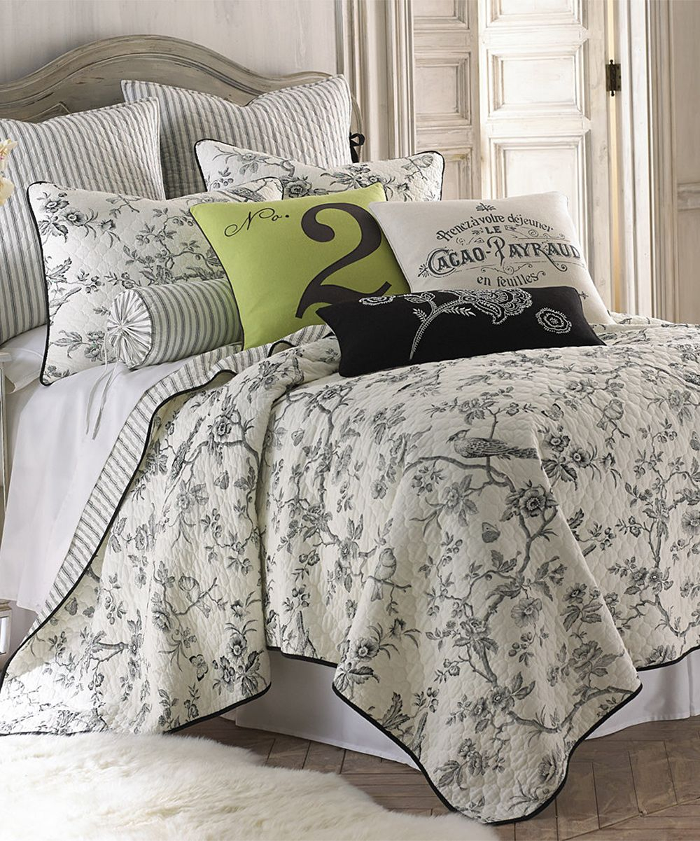 Black White Floral Bird Quilt Set Products Toile Bedding
