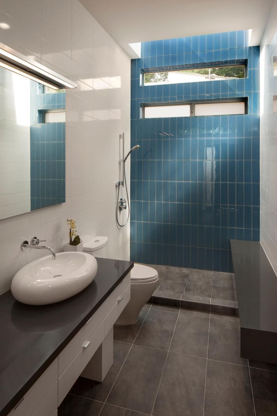 Blue Tile Accent Wall Modern Bathroom With Polished White Wall Tile