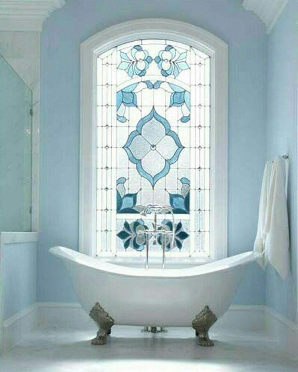 Blue Vintage Bathroom Decor With Stained Glass Window Cool Pics