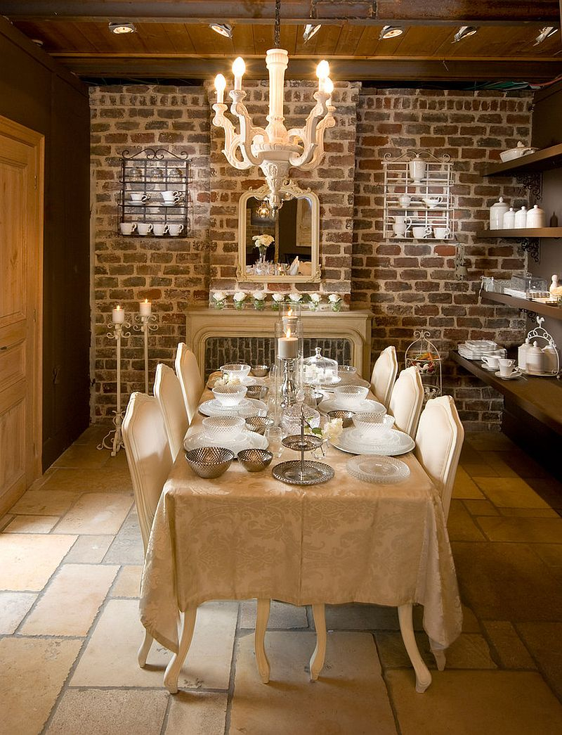 Brick Wall Inside Elegant Dining Room With Nice Kitchen Fashion