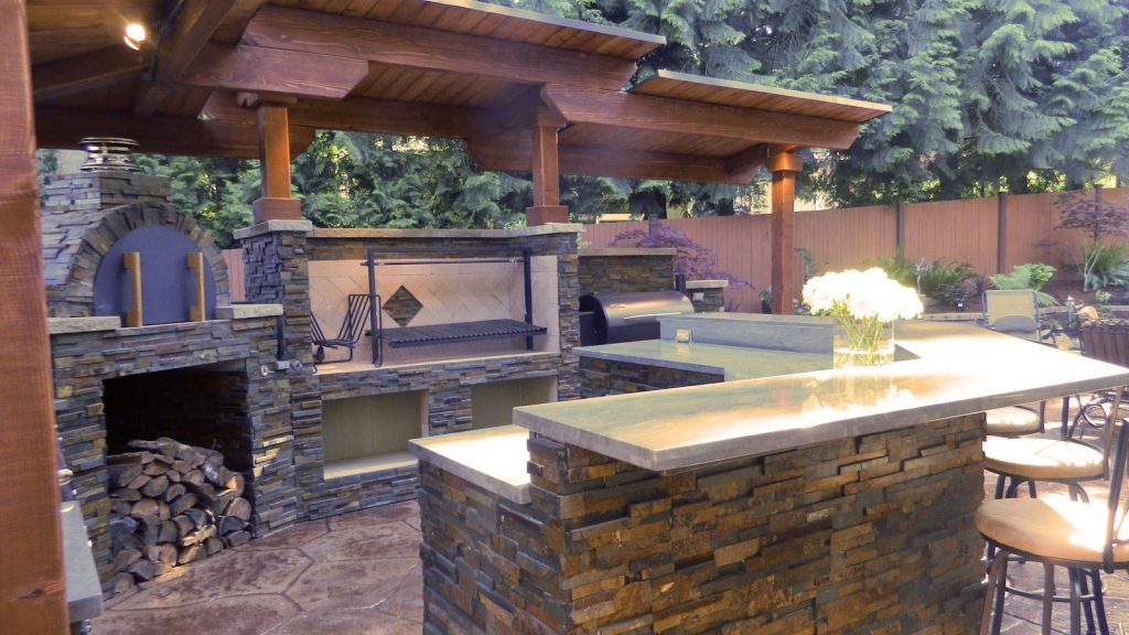 Built In Grill And Smoker Outside Bar Outdoor Kitchen With
