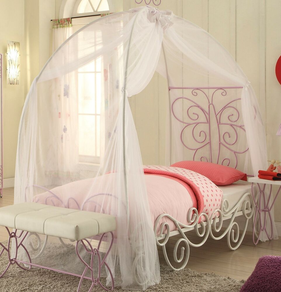 Butterfly Princess Carriage Full Canopy Bed In White Light Purple