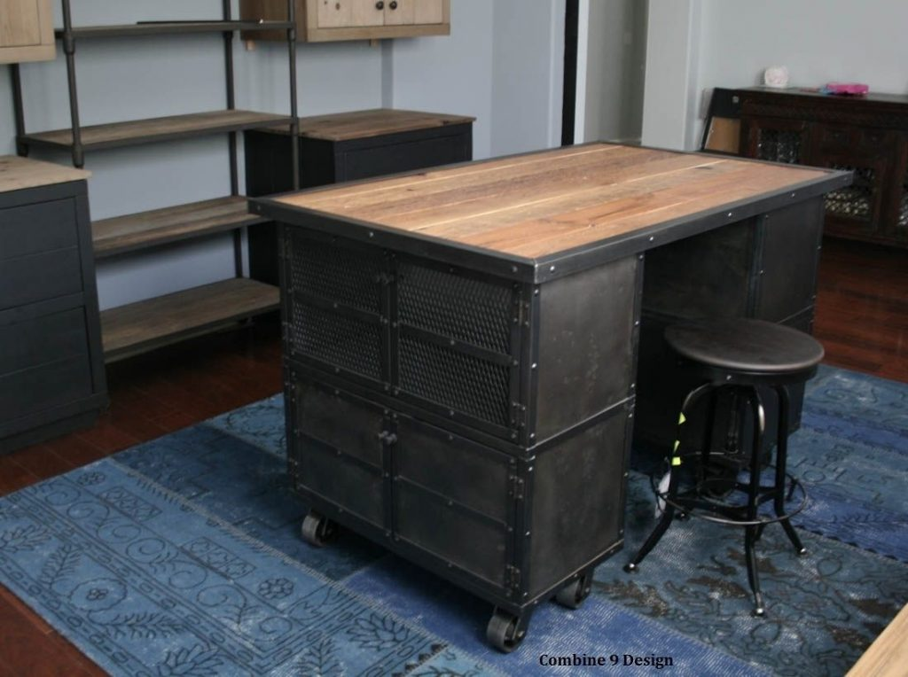 Buy A Handmade Kitchen Island Work Station Vintage Industrial Mid