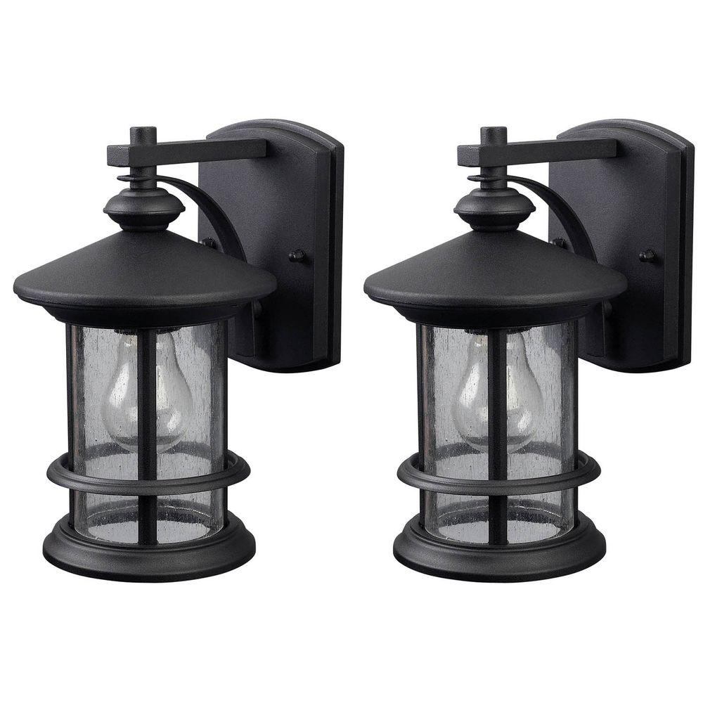 Canarm Ryder 1 Light Black Outdoor Wall Lantern With Seeded Glass 2