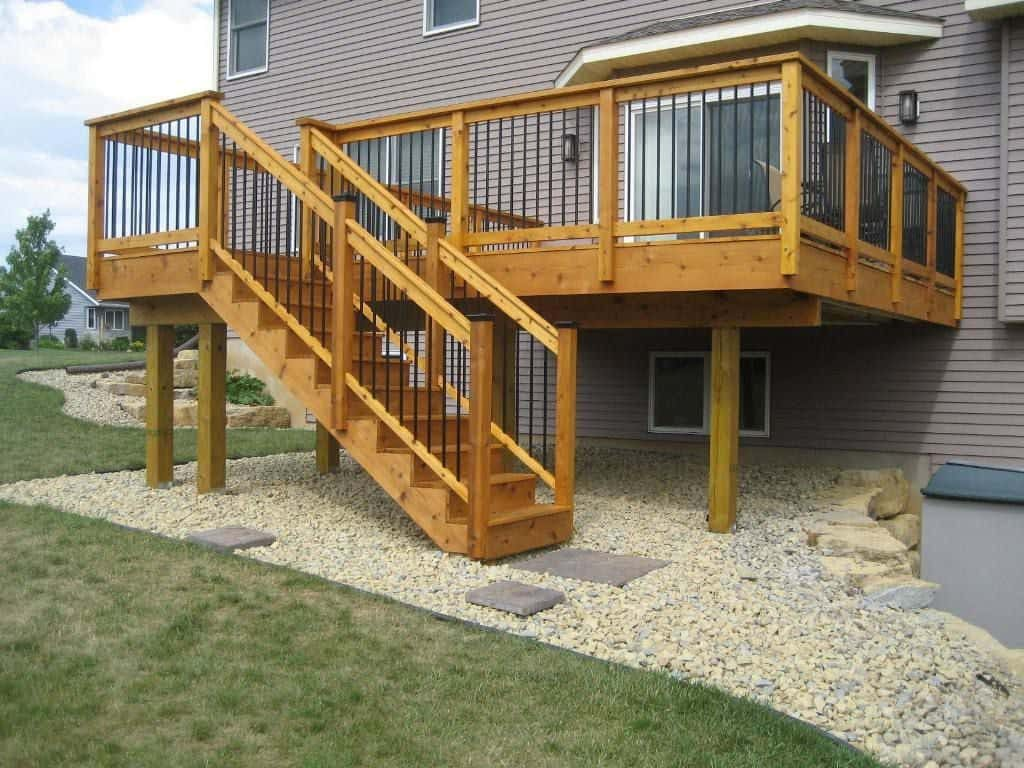 Cedar Deck With Staircase Deck Staircase Design Ideas Wearefound