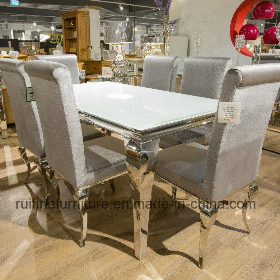 China Modern French Chrome Louis White Glass Dining Table Set