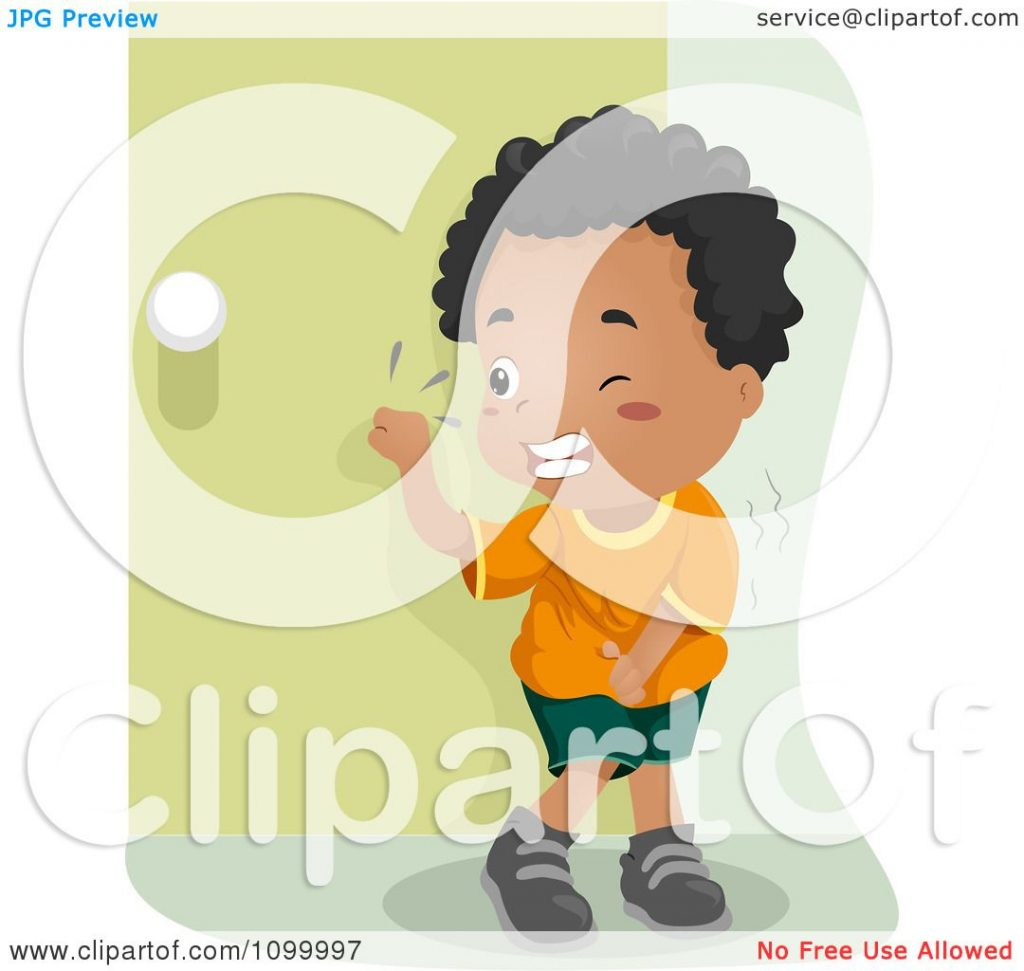 Clipart Black Boy Knocking On A Bathroom Door And Trying Not To Pee