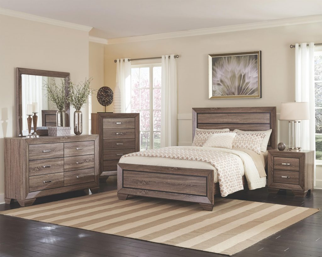 Coaster Furniture Kauffman 4 Piece Panel Bedroom Set In Washed