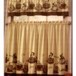 Coffee Themed Kitchen Curtains Tiers Valance Set Complete Curtains