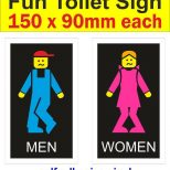 Colour Toilet Signs Mens Womens Lego Decal Funny Humorous Bathroom